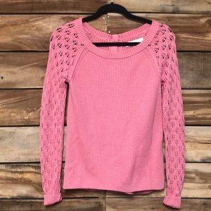 Loft pink oversized button back sweater